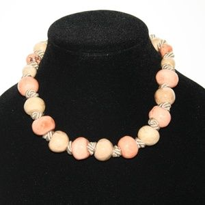 Beautiful Peach and Cream Chunky fashion necklace